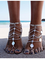 cheap -Layered Anklet Barefoot Sandals - Silver Personalized, Unique Design, European Silver For Christmas Gifts / Daily / Casual / Women's
