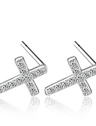 cheap -Women's Stud Earrings AAA Cubic Zirconia Fashion Sterling Silver Zircon Cubic Zirconia Silver Cross Jewelry Wedding Party Daily Costume