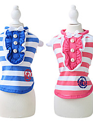 cheap -Dog Shirt / T-Shirt Dog Clothes Sailor Rose Blue Cotton Costume For Pets Summer Women's Casual / Daily Fashion