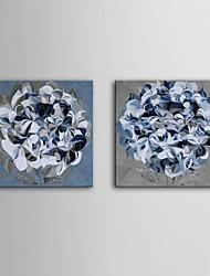allungato su tela blu fiori set di 2