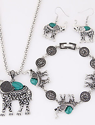 cheap -Women's Turquoise Elephant Jewelry Set Earrings / Necklace / Bracelets & Bangles - Luxury / Cute Style / European Animal Black / Red /