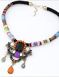 Women's Pendant Necklaces Statement Necklaces Synthetic Gemstones Alloy Luxury Folk Style Jewelry For Party