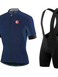 billige -Herre Kortærmet Mørkeblå / Grå / Blå Cykel Tights / Tøjsæt, Vindtæt, Vandtæt, 3D Måtte / Elastisk