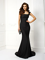 Mermaid / Trumpet Scoop Neck Court Train Jersey Formal Evening Black Tie Gala Dress with Embroidery by TS Couture®