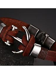 Head Layer Cowhide Titanium Steel Buckle Men Anchor Bracelet Christmas Gifts