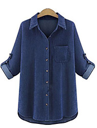 cheap -Women's Holiday Basic Plus Size Shirt - Solid Colored Shirt Collar