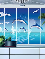 Blue Dolphin Seagull Ocean Kitchen Wall Decal Sticker Kitchen Exhaust Grease Oil Proof