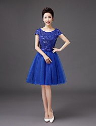 cheap -Bridesmaid Dress Knee-length Sequined - A-line Scoop with Bowby QQC Bridal