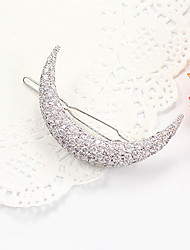 cheap -Lucky Doll Women's Elegant 925 Silver Plated Cubic Zirconia Moon Hair Clip