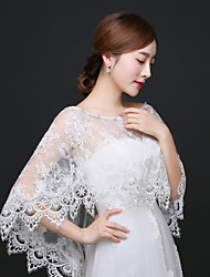 cheap -Sleeveless Lace Wedding Party Evening Wedding  Wraps With Rhinestone Appliques Lace Shawls
