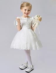 preiswerte -a-line kurz / Mini Blumenmädchen Kleid - Satin Tüll kurzen Ärmeln Juwel Hals mit Falten von lovelybees