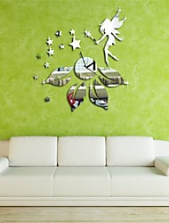Hot New 3D Clock Star Fairy Design Mirror Effect Wall Sticker Modern Room Decor home decoration