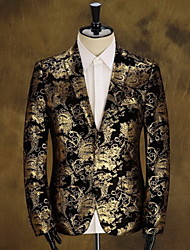 cheap -Men's Club Vintage Cotton Slim Blazer - Floral, Print Notch Lapel