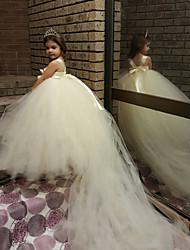 robe de bal court train robe de fille de fleur - sangles de spaghetti sans manches en polyester avec fleur par thstylee