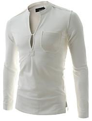 preiswerte -Herren T-shirt-Einfarbig Freizeit Baumwolle Lang-Schwarz / Weiß / Grau