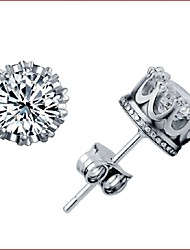 925 Silver Sterling Silver Jewelry Earrings Sample Crown Zircon Stud Earring 1Pair