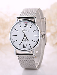 cheap -Women/Men White Case Steel Silver Band Watch Jewelry for Wedding Party