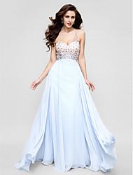 Linha A Assimétrico Cauda Escova Chiffon Evento Formal Vestido com Miçangas Detalhes em Cristal de TS Couture®
