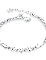 cheap -Lureme® Simple Silver Plated Jewelry Heart with Wings Charm Bracelets for Women