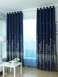 cheap -Rod Pocket Grommet Top Tab Top Double Pleat Pencil Pleat Two Panels Curtain Modern , Print Cartoon Bedroom Polyester Material Blackout
