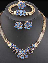 cheap -Crystal Jewelry Set - Gold Plated Flower Statement, Vintage, Party Include Blue For Party Special Occasion Anniversary / Earrings / Necklace