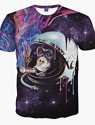 preiswerte -Herren T-shirt-Druck Freizeit Polyester Kurz-Lila / Tierdruck