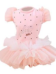 cheap -Dog Dress Dog Clothes Polka Dot Heart Bowknot Blue Pink Cotton Costume For Pets Summer Women's Princess Fashion