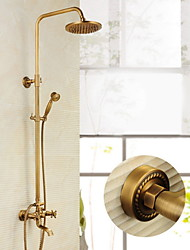 cheap -8 Inch Antique Brass Wall Mounted Two Handle Shower Set with Shower Head and Hand Shower