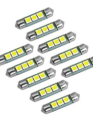 YouOKLight® Festoon 36mm 1W 60lm 3x5050 SMD 60lm 6000-6500K White Light LED Bulb Car Lamp (DC 12V/10PCS)