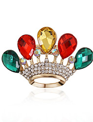 cheap -Women's Luxury European Synthetic Gemstones Acrylic Rhinestone Imitation Diamond Alloy Crown Drop Red Green Rainbow Jewelry For Wedding