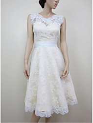 cheap -A-Line Jewel Neck Knee Length Lace Satin Wedding Dress with Appliques Lace by LAN TING BRIDE®