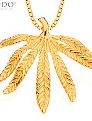 Недорогие -мода листья кулон мужчины ювелирные изделия золото 18k покрыло ожерелья цепи& подвески старинные ювелирные изделия женщин подарки