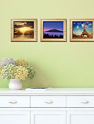 cheap -Trade New 3D Stereoscopic Photo Frame Creative Landscape Triptych Gold Stickers Eiffel Tower Wall Stickers