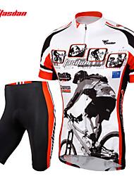 economico -TASDAN Maglia con pantaloncini da ciclismo Per uomo Manica corta Bicicletta Pantaloncini /Cosciali Maglietta/Maglia Set di vestiti
