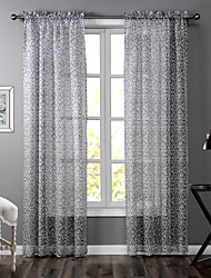 One Panel Modern Floral / Botanical Neutrals Living Room Polyester Sheer Curtains Shades 52 inch Per Panel