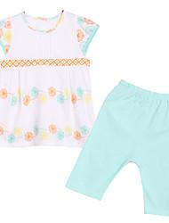 abordables -Ensemble de Vêtements Coton Eté Manches Courtes Fleur Blanc