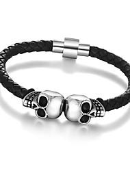 cheap -2016 Genuine Leather Skeleton Skull Stainless Steel Bracelets & Bangles Rock Mens Bracelet