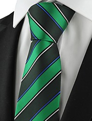 cheap -New Striped Green Mens Tie Formal Suit Necktie Party Wedding Holiday Gift KT1079
