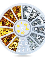 cheap -1wheel Gold Silver Metal Studs 3d Nail Art Decorations