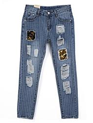 preiswerte -Damen Street Schick Jeans Hose Mehrfarbig Stickerei