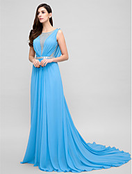 cheap -A-Line Illusion Neckline Court Train Chiffon Formal Evening Dress with Beading by TS Couture®