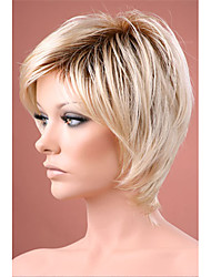 Ombre hair Wig Short Straight Blonde with Dark Roots Synthetic hair wigs for women Free shipping