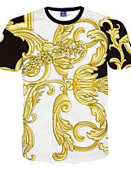 preiswerte -Herren T-shirt-Druck Freizeit Polyester Kurz-Weiß