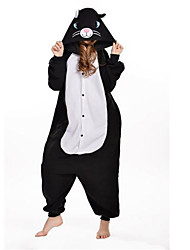 cheap -Kigurumi Pajamas Cat Onesie Pajamas Costume Polar Fleece Black Cosplay For Adults' Animal Sleepwear Cartoon Halloween Festival / Holiday