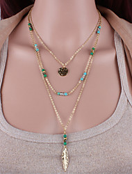 Turquoise Beaded feather Tassel Necklace Classical Feminine Style