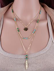 collana di nappa di piume di perline turchesi stile femminile classico