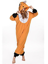 abordables -Pyjamas Kigurumi Renard Combinaison de Pyjamas Costume Polaire Orange Cosplay Pour Adulte Pyjamas Animale Dessin animé Halloween Fête /
