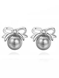 economico -Da donna Orecchini a bottone Perla Perle finte Zircone cubico Perla grigia Lega A fiocchetto Gioielli Per