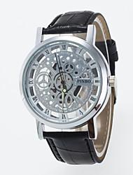 Casual Men's Wrist Watch Skeleton Imitation Mechanical Watch Women Four Rome's No Dial Quartz Watches Pu Leather Band