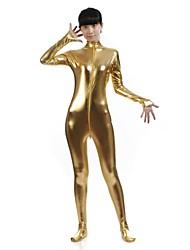 preiswerte -Zentai Anzüge Ninja Zentai Kostüme Cosplay Kostüme Golden Solide Gymnastikanzug / Einteiler Catsuit Zentai Kostüme Elasthan Glänzend